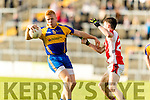 Teddy Doyle Kenmare in action against Cathal Murphy Rathmore in the Senior County Football Semi Final in Fitzgerald Stadium on Sunday.