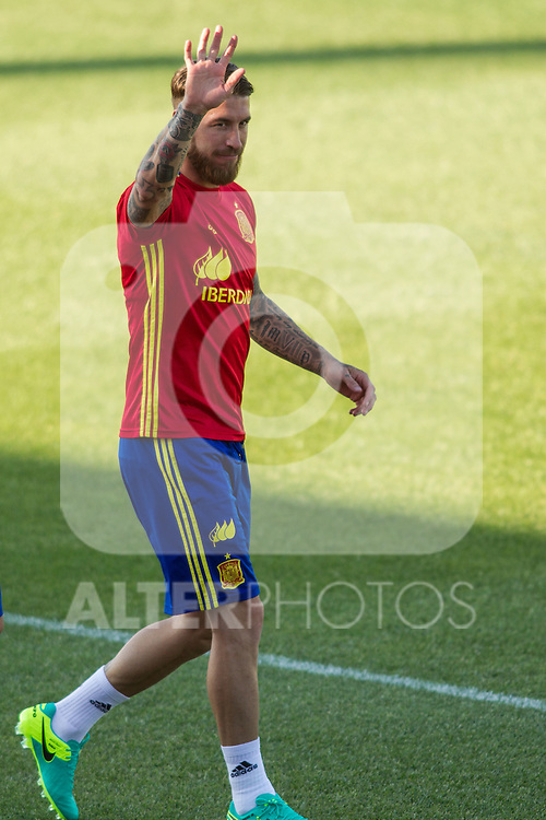 Spain's Sergio Ramos during the first training of the concentration of national soccer team before the Uefa Euro 2016.  Jun 4,2016. (ALTERPHOTOS/Rodrigo Jimenez)
