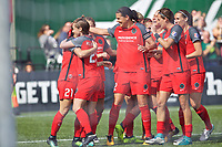 Portland, OR - Saturday September 30, 2017: Thorns celebrate after Hayley Raso scored a goal during a regular season National Women's Soccer League (NWSL) match between the Portland Thorns FC and the Chicago Red Stars at Providence Park.