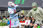 Costa Mesa, CA 06/08/13 - Shamel Bratton (Team STX #1) and Zack Brenneman (Team Maverik #28) in action during the inaugural game of the LXMPRO Tour in Orange County.  The Team STX defeated Team Maverik 14-13 at Orange Coast College's Bard Stadium.