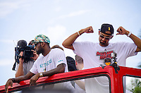 Lebron James and Juwan Howard at Miami Heat NBA 2013 Championship parade, Biscayne Boulevard, American Airlines Arena, Miami, FL, June 24, 2013