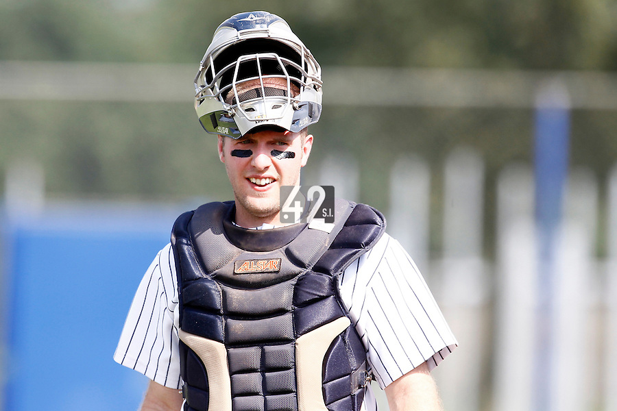 03 September 2011: Catcher Mark Duursma of Vaessen Pioniers is seen during game 1 of the 2011 Holland Series won 5-4 in inning number 14 by L&D Amsterdam Pirates over Vaessen Pioniers, in Hoofddorp, Netherlands.