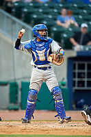 Midland RockHounds catcher Andy Paz (45) throws back to the pitcher during a game against the Northwest Arkansas Naturals on May 27, 2017 at Arvest Ballpark in Springdale, Arkansas.  NW Arkansas defeated Midland 3-2.  (Mike Janes/Four Seam Images)