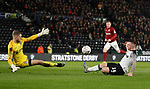Jack Marriott of Derby County fails to score past David Cornell of Northampton during the FA Cup match at the Pride Park Stadium, Derby. Picture date: 4th February 2020. Picture credit should read: Darren Staples/Sportimage