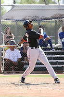 Sundrendy Windster #32 of the San Francisco Giants plays in a minor league spring training game against the Chicago Cubs at the Cubs minor league complex on March 29, 2011  in Mesa, Arizona. .Photo by:  Bill Mitchell/Four Seam Images.