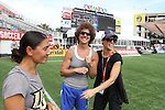 09 November 2013: Retired former national team players Tiffany Roberts (left), Michelle Akers, and Kate Sobrero Markgraf (right). The United States Women's National Team held a Training Session at the Citrus Bowl in Orlando, Florida