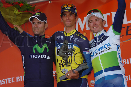 14.04.2013 Valkenburg, Holland. Alejandro Valverde, Roman Kreuziger and Simon Gerrans on the podium in Valkenburg.