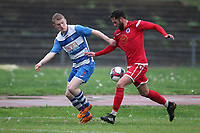 Ellis Lentell of Ilford and Reece Conway of Walthamstow during Ilford vs Walthamstow, Essex Senior League Football at Cricklefields Stadium on 6th October 2018