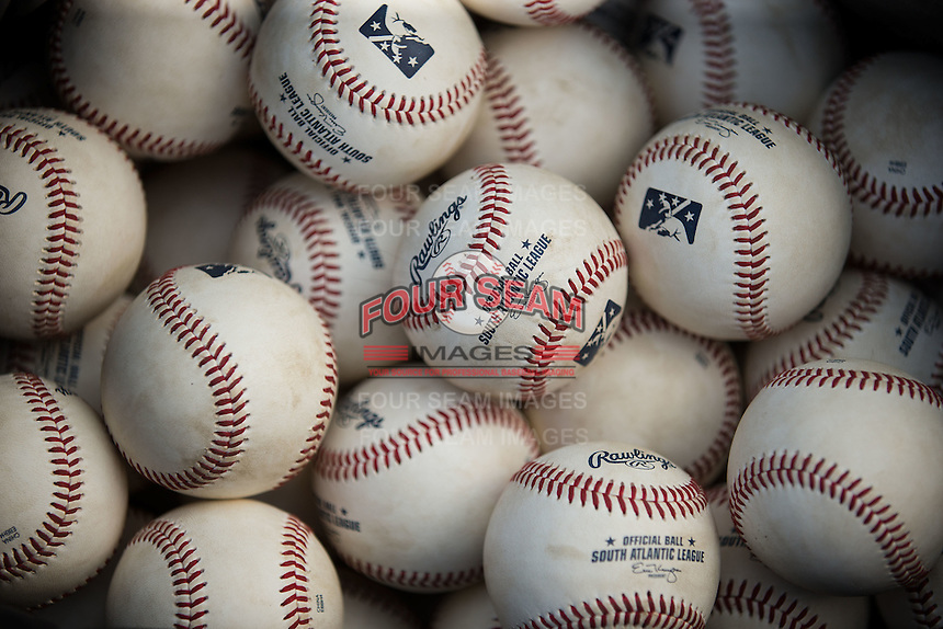 South Atlantic League baseballs made by Rawlings are ready to be put to use in the game between the Lakewood BlueClaws and the Kannapolis Intimidators at Kannapolis Intimidators Stadium on May 10, 2016 in Kannapolis, North Carolina.  The BlueClaws defeated the Intimidators 5-3.  (Brian Westerholt/Four Seam Images)