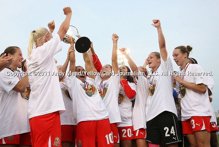 27 August 2011: Western New York's Marta (BRA) hoists the championship trophy overhead after the game. Western New York Flash defeated the Philadelphia Independence 5-4 on penalty kicks to win the final after the game ended in a 1-1 tie after overtime at Sahlen's Stadium in Rochester, New York in the Women's Professional Soccer championship game.