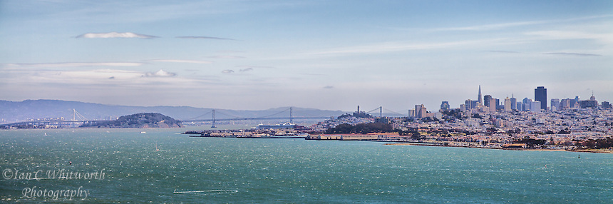 A panoramic view of the San Francisco skyline from Alcatraz Island.