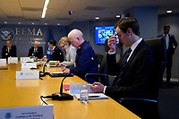 Senior Advisor Jared Kushner attends a teleconference with governors at the Federal Emergency Management Agency headquarters, Thursday, March 19, 2020, in Washington, DC. From left, United States President Donald J. Trump, US Vice President Mike Pence, acting Secretary of Homeland Security Chad Wolf, Dr. Deborah L. Birx, White House Coronavirus Response Coordinator, and Admiral Brett Giroir, United States Assistant Secretary for Health, and Kushner.<br /> Credit: Evan Vucci / Pool via CNP/AdMedia