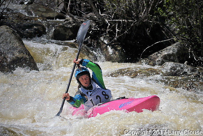 June 8, 2017 - Vail, Colorado, U.S. -  USA's, Adriene Levknecht, works her way down the upper section of Homestake Creek's difficult course in the Steep Creek competition during the GoPro Mountain Games, Vail, Colorado.  Adventure athletes from around the world meet in Vail, Colorado, June 8-11, for America's largest celebration of mountain sports, music, and lifestyle.