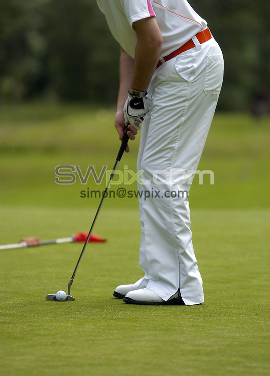 Pix by BEN DUFFY/SWpix.com - Golf Feature, Rudding Park...18/06/05..Picture Copyright >> Simon Wilkinson >> 07811267706..Ed Hartley of Rudding park golf course displays the clubs relaxed atmosphere by wearing a new line of  Swedish golf wear on the course