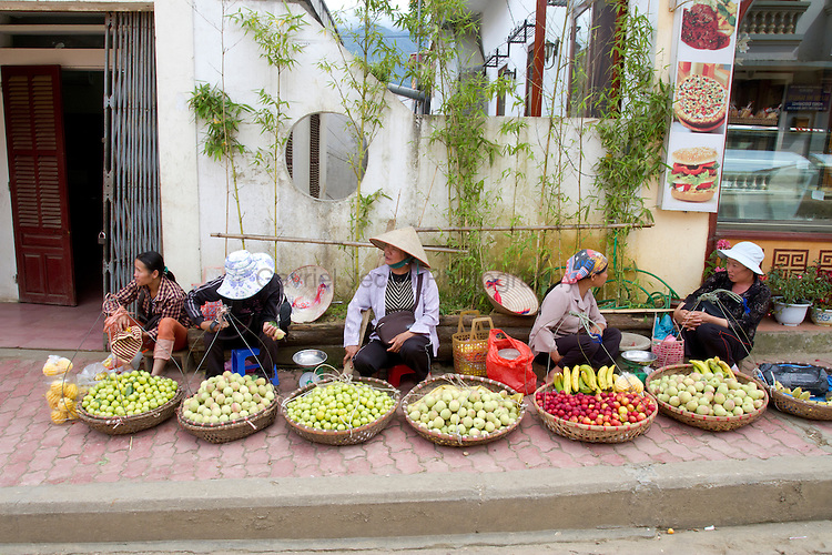 Venders selling fruits in northern Vietnam