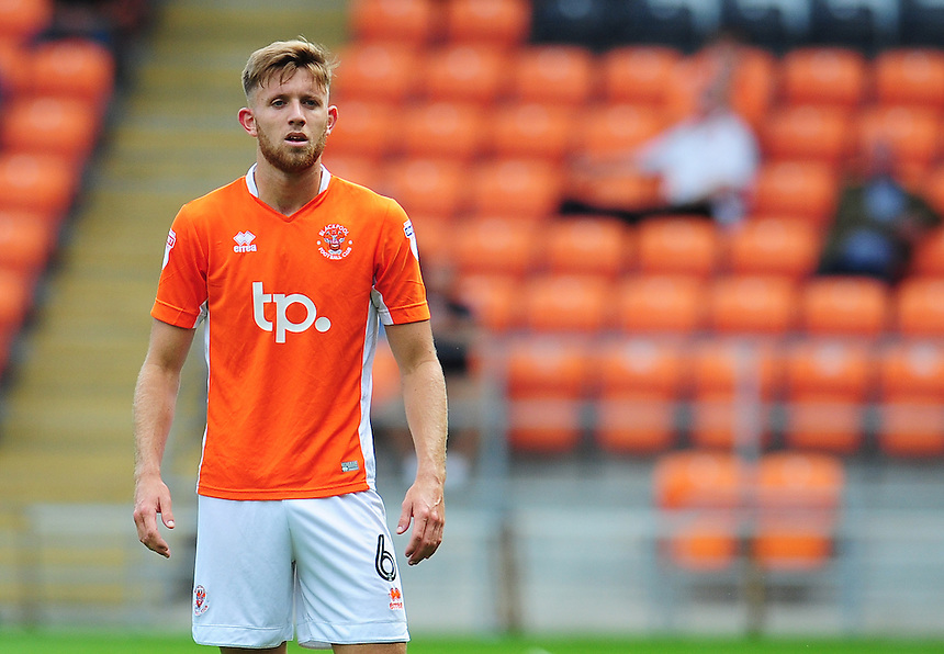 Blackpool's Will Aimson<br /> <br /> Photographer Kevin Barnes/CameraSport<br /> <br /> Football - The EFL Sky Bet League Two - Blackpool v Exeter City - Saturday 6th August 2016 - Bloomfield Road - Blackpool<br /> <br /> World Copyright &copy; 2016 CameraSport. All rights reserved. 43 Linden Ave. Countesthorpe. Leicester. England. LE8 5PG - Tel: +44 (0) 116 277 4147 - admin@camerasport.com - www.camerasport.com