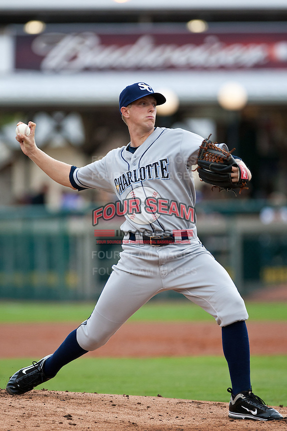 Pitcher Merrill Kelly #30 of the Charlotte Stone Crabs during a game against the Daytona Beach Cubs at Jackie Robinson Ballpark on July 8, 2011 in Daytona Beach, Florida. (Scott Jontes / Four Seam Images)