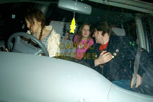 """JANE GOLDMAN & JONATHAN ROSS & DAUGHTERS.The """"Dr. Who"""" series 3 TV premiere, Mayfair Hotel, London, UK..March 21st, 2007.doctor half length car black jacket family father husband wife married kids .CAP/CAN.©Can Nguyen/Capital Pictures"""