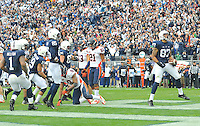 02 November 2013:  Penn State TE Kyle Carter (87) celebrates after scoring the game winning touchdown in overtime. The Penn State Nittany Lions defeated the Illinois Illini 24-17 in OT at Beaver Stadium in State College, PA.