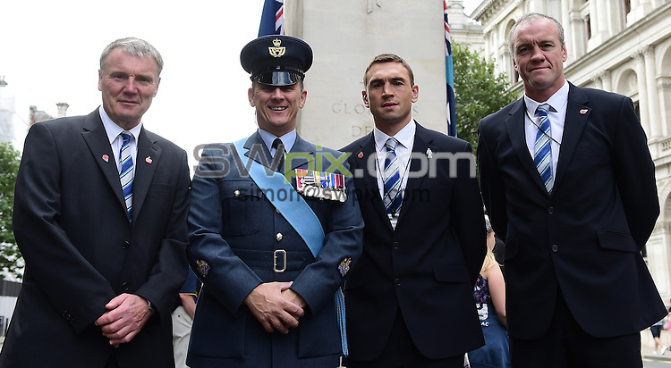 Picture by Alex Broadway/SWpix.com - 22/08/2014 - Rugby League - RFL Commemorative wreath laying ceremony, The Cenotaph, London, England - Gary Hetherington, Warrant Officer Damian Clayton, Kevin Sinfield and Brian McDermott.