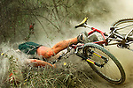 University of Missouri senior Justin Gladish wrecks on his mountain bike while competing in Shakespeare?s Ironman Challenge at Finger Lakes State Park, Mo. Gladish suffered only minor cuts and bruises and went on to finish the race.<br />