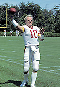 Washington Redskins quarterback Jay Schroeder (10) works-out at the team's training camp Dickinson College in Carlisle, Pennsylvania on August 1, 1986.<br />