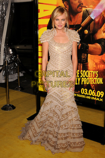 """MALIN AKERMAN.""""The Watchmen"""" Los Angeles Premiere at Grauman's Chinese Theatre, Hollywood, California, USA..March 2nd, 2009.full length ackerman dress beige gold long pattern frills ruffled ruffles .CAP/ADM/BP.©Byron Purvis/AdMedia/Capital Pictures."""