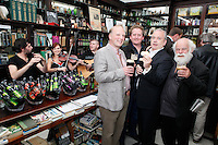 """26/7/2011. Porterhouse Celebrates Fifteen Years of Brewing with another Gold Medal. Pictured at the Sweny Chemist venue in Dublin celebrating are Peter Mosley Master Brewer , Oliver Hughes Director and Derdis Clarke.The Porterhouse Brewing Company is fifteen years old and to add to the celebrations they have been awarded a gold medal for their Plain Porter. The award, which is much sought after by brewers worldwide, was bestowed upon the Porterhouse's famous Plain Porter at the Brewing Industry International Awards, dubbed, """"The Brewing Oscars"""" in a glitzy ceremony at London's Guild Hall. It is the second time the Porterhouse has received this famous accolade. The first was in 1998 and again it was the Plain Porter that brought home the gold. The awards, with approximately eight hundred and fifty entries, are structured into nine categories with thirty-two classes and medals are extremely difficult to win. Picture Collins Photos"""