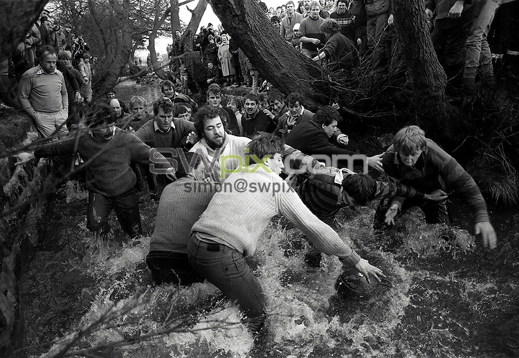 Pix:Michael Steele/SWpix...Ashbourne Shrovetide Football, 1988...COPYRIGHT PICTURE>>SIMON WILKINSON..Ashbourne Shrovetide Football, 1988.