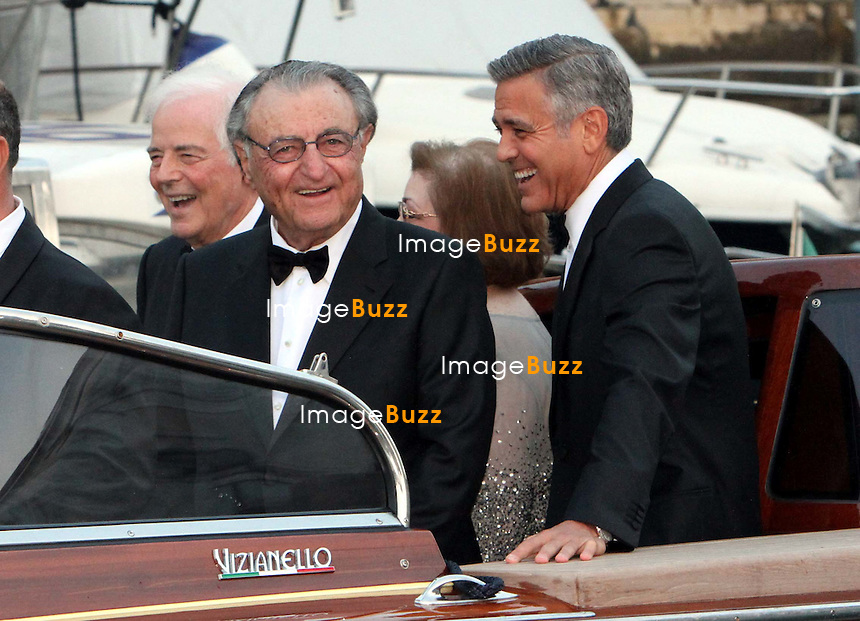 George Clooney &amp; Ramzi Alamuddin; - GEORGE CLOONEY &amp; AMAL ALAMUDDIN WEDDING CEREMONY AT THE AMAN RESORTS HOTEL IN VENICE - <br /> George Clooney &amp; British fiancee Amal Alamuddin and guests on taxi boat on the Grand Canal on their way to the seven-star Aman Hotel for the wedding celebrations.<br /> Robert De Niro, Matt Damon, Brad Pitt and Cate Blanchett were among the other stars, like Cindy Crawford, Rande Geber, Bill Murray, Emily Blunt.<br /> Italy, Venice, 27 September, 2014.