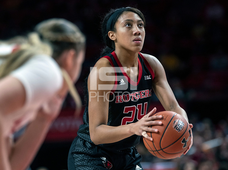COLLEGE PARK, MD - FEBRUARY 9: Arella Guirantes #24 of Rutgers at the free throw line during a game between Rutgers and Maryland at Xfinity Center on February 9, 2020 in College Park, Maryland.