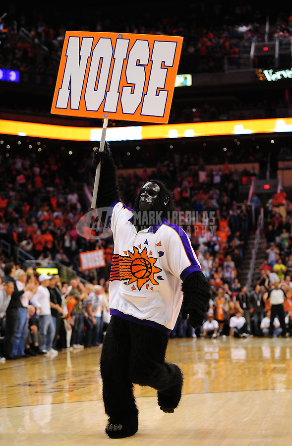 Mar. 25, 2011; Phoenix, AZ, USA; Phoenix Suns mascot the Gorilla performs during a time out against the New Orleans Hornets at the US Airways Center. The Hornets defeated the Suns 106-100. Mandatory Credit: Mark J. Rebilas-USA TODAY Sports