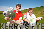 HOLE IN ONE: Graham Dundon (Waterville) and Ruairi O'Sullivan (Kenmare) checking out the greens at  the 2007 Kerry Junior Golf League in Ballybunion on Thursday last.