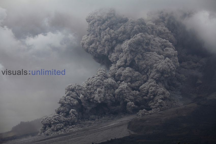 Large pyroclastic flow descending flank of Sinabung Volcano, Indonesia