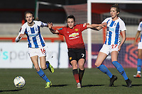 Ellie Brazil of Brighton & Hove Albion Women Ella Toone of Manchester United Women and Megan Connolly (R)  of Brighton & Hove Albion Women during Brighton & Hove Albion Women vs Manchester United Women, SSE Women's FA Cup Football at Broadfield Stadium on 3rd February 2019