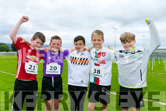 Enjoying the St Brendan's Park FC  5K run and family fun day at Christy Leahy Park on Sunday were Justin O'Sullivan, Ryan O Driscoll, Jack Slattery, Oisin O'Halloran, James Fisher