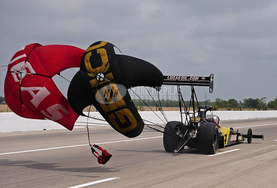 May 1, 2011; Baytown, TX, USA: NHRA top fuel dragster driver Morgan Lucas during the Spring Nationals at Royal Purple Raceway. Mandatory Credit: Mark J. Rebilas-