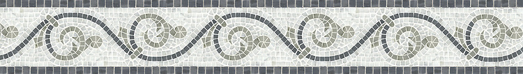 """5 3/4"""" Gadfly border, a hand-cut mosaic shown in polished Kay's Green, Carrara, and Bardiglio by New Ravenna."""