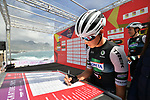 Kometa Cycling Team at sign on before the start of Stage 4 of Il Giro di Sicilia 2019 running 119km from Giardini Naxos to Mount Etna (Nicolosi), Italy. 6th April 2019.<br /> Picture: LaPresse/Massimo Paolone | Cyclefile<br /> <br /> All photos usage must carry mandatory copyright credit (&copy; Cyclefile | LaPresse/Massimo Paolone)