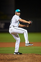 Salt River Rafters relief pitcher Alex Vesia (18), of the Miami Marlins organization, during an Arizona Fall League game against the Mesa Solar Sox on September 19, 2019 at Salt River Fields at Talking Stick in Scottsdale, Arizona. Salt River defeated Mesa 4-1. (Zachary Lucy/Four Seam Images)