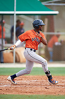 GCL Astros first baseman Angel Tejeda (6) during a game against the GCL Marlins on July 22, 2017 at Roger Dean Stadium Complex in Jupiter, Florida.  GCL Astros defeated the GCL Marlins 5-1, the game was called in the seventh inning due to rain.  (Mike Janes/Four Seam Images)