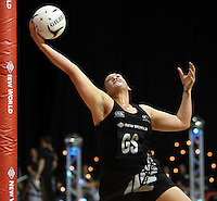 31.10.2013 Silver Fern Cathrine Latu in action during the Silver Ferns V Malawi during the New World Netball Series played at the Claudelands Arena in Hamilton. Mandatory Photo Credit ©Michael Bradley.