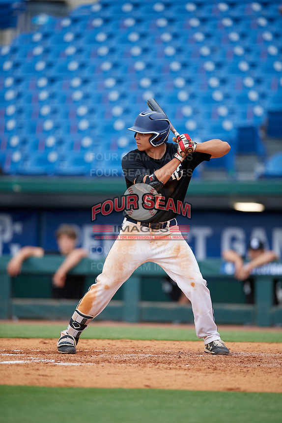 Carlos Pena (27) of Salisbury High School in Bayside, NY during the Perfect Game National Showcase at Hoover Metropolitan Stadium on June 17, 2020 in Hoover, Alabama. (Mike Janes/Four Seam Images)