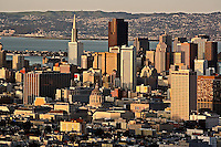 San Francisco skyline at sunset, from Twin Peaks,.San Francisco, California.San Francisco skyline at sunset, from Twin Peaks,.San Francisco, California