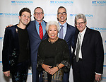 """Sam Pinkleton, Mark Brokaw, Joy Abbott, Jerry Mitchell and Ted Chapin during The """"Mr. Abbott"""" Award 2019 at The Metropolitan Club on 3/25/2019 in New York City."""