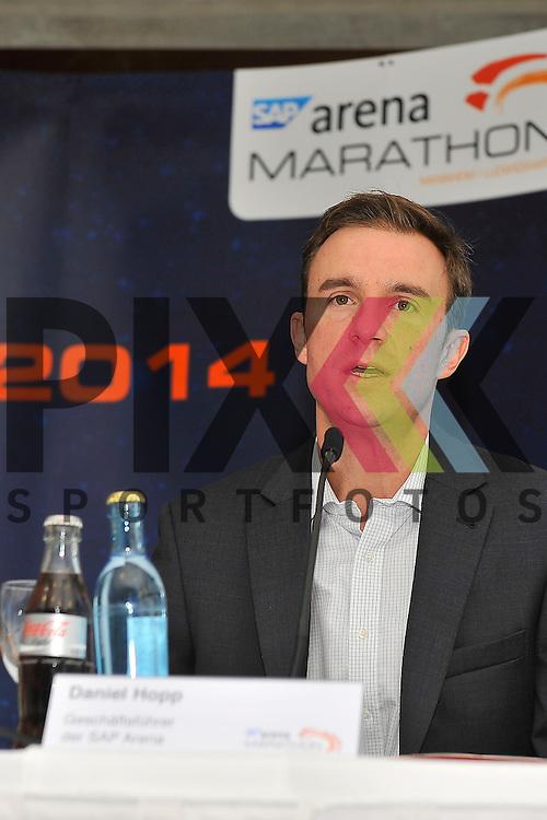 Daniel Hopp bei seinen Ausfuerungenbei der Pressekonferenz zum Marathon Mannheim 2014.<br /> <br /> Foto &copy; Rhein-Neckar-Picture *** Foto ist honorarpflichtig! *** Auf Anfrage in hoeherer Qualitaet/Aufloesung. Belegexemplar erbeten. Veroeffentlichung ausschliesslich fuer journalistisch-publizistische Zwecke.