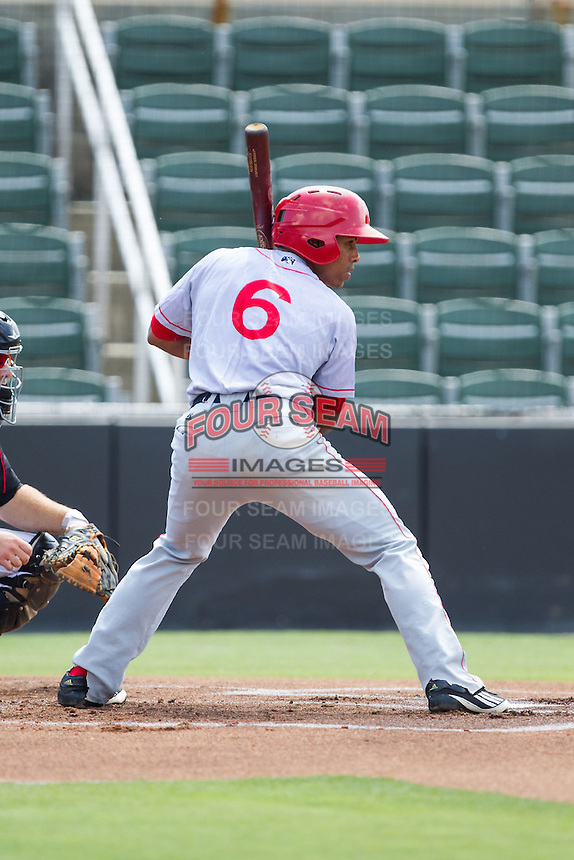 Wilmer Difo (6) of the Hagerstown Suns at bat against the Kannapolis Intimidators at CMC-Northeast Stadium on June 1, 2014 in Kannapolis, North Carolina.  The Intimidators defeated the Suns 5-1 in game one of a double-header.  (Brian Westerholt/Four Seam Images)