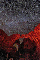 Shooting Stars and the Milky Way make a nice backdrop for Double Arch in Utah's Arches National Park.