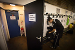 An Edinburgh City player in the home dressing room at Meadowbank Stadium before his club took on Scottish Cup winners Hibernian in a pre-season friendly. The match was City's first at the Commonwealth Stadium since they gained promotion from the Lowland League to the Scottish League in May 2016. A record crowd for a City match of 2500 spectators saw the visitors run out 6-1 winners.
