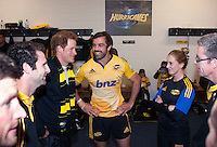 Prince Harry chats with Conrad Smith in the changing rooms after the Super Rugby match between the Hurricanes and Sharks at Westpac Stadium, Wellington, New Zealand on Saturday, 9 May 2015. Photo: Dave Lintott / lintottphoto.co.nz